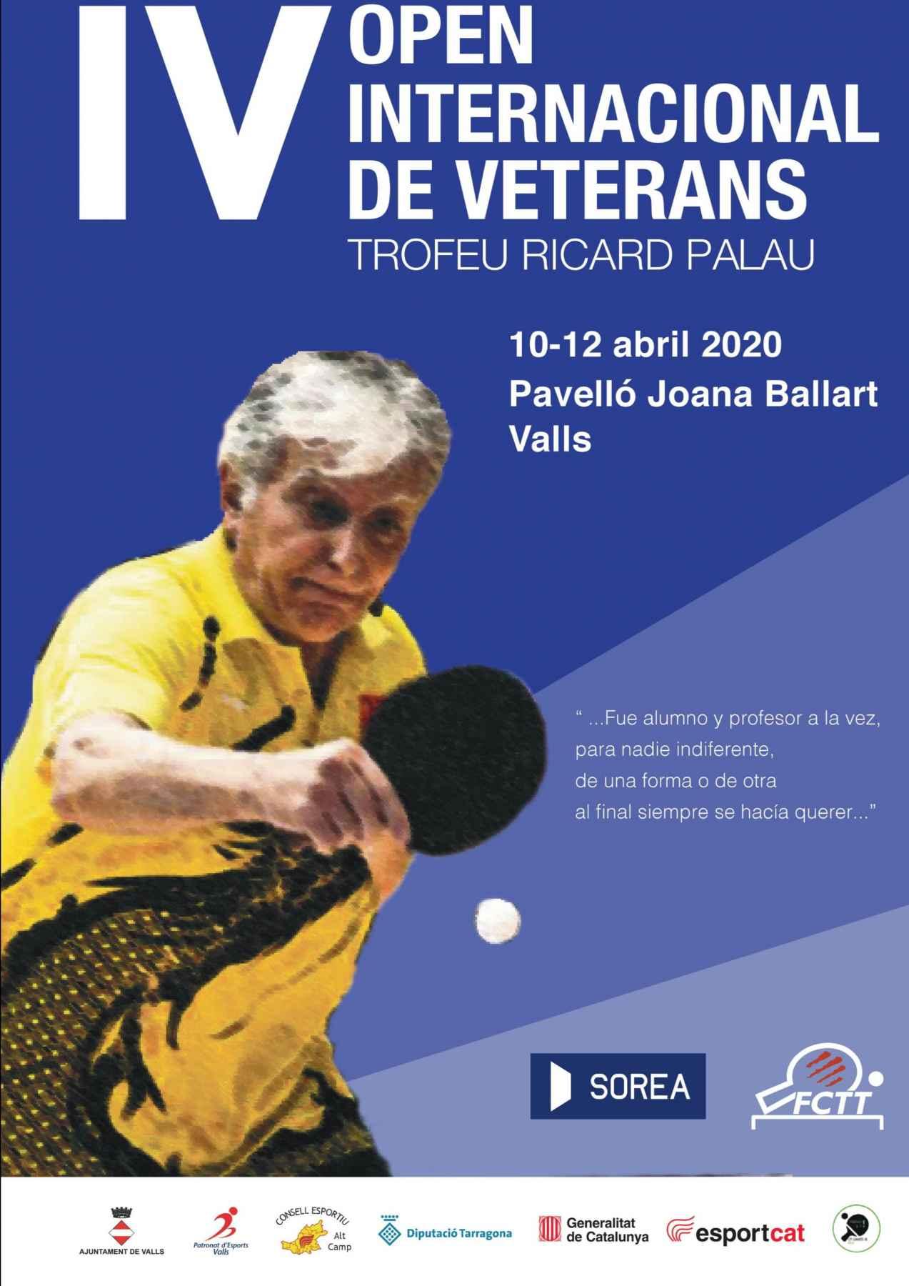Cartel Torneo Internacional de Veteranos Costa Dorada-Trofeo Ricard Palau