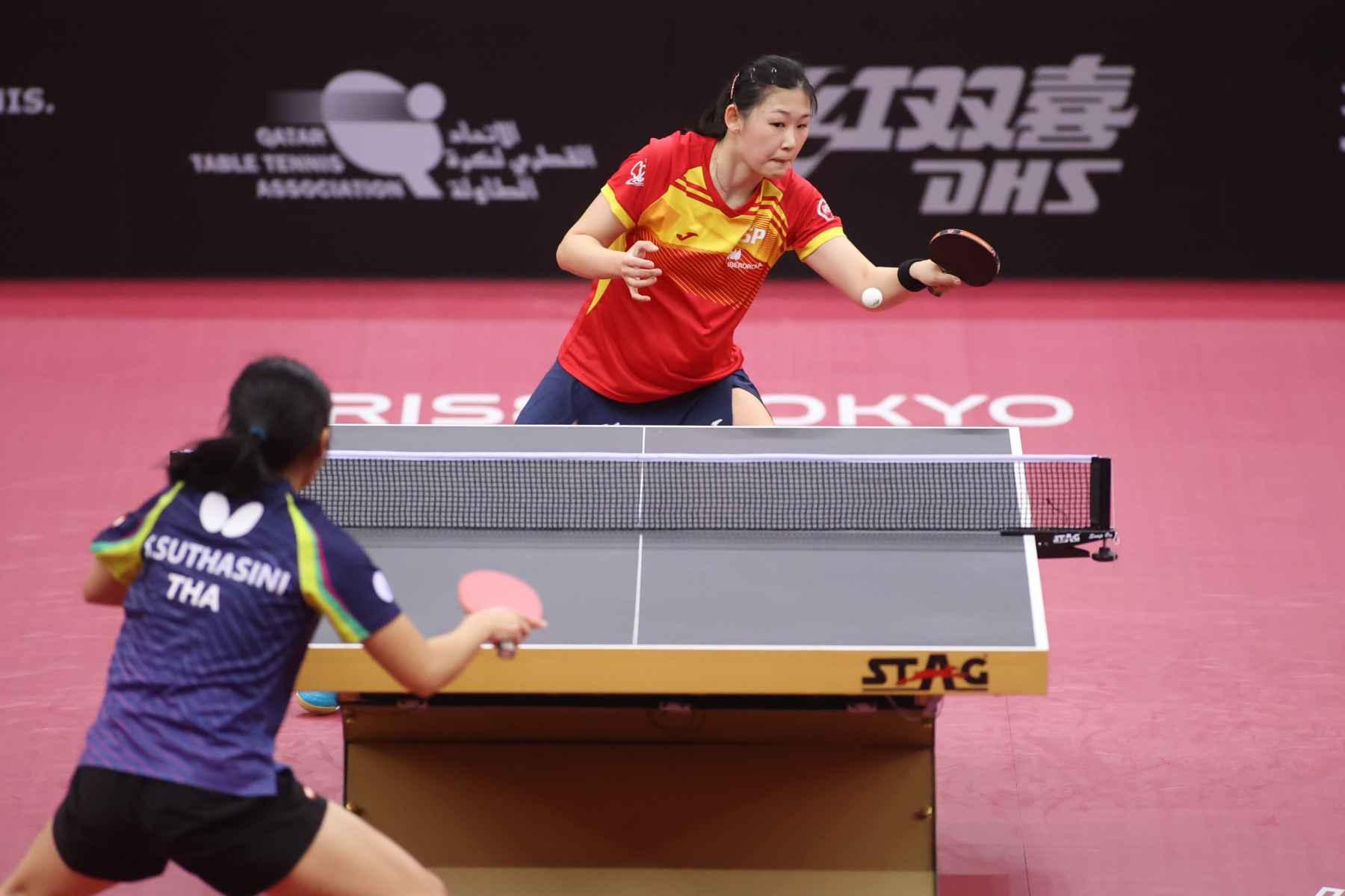 María Xiao disputando la final del PreOlímpico Mundial (Foto: ITTF)